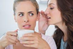 Frau, die ihrem Freund Geheimnis sagt Lizenzfreies Stockfoto