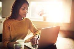 Frau, die ihren Computer überprüft und Kaffeetasse hält Stockfotografie