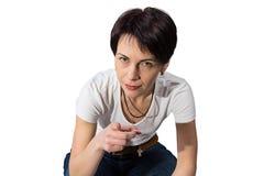 Frau, die ihren Finger zeigt Lizenzfreies Stockbild