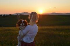 Frau, die ihren Hund im Sonnenuntergang hält Stockbild