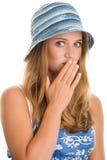 Frau, die ihren Mund bedeckt Stockfotos