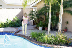 Frau, die ihren Swimmingpool klärt Stockbild