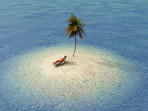 Frau, die im Aufenthaltsraum auf kleiner Insel ein Sonnenbad nimmt stockfotos