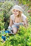 Frau, die im Garten unter Verwendung der Gartenbauinstrumente auf summe arbeitet Stockfoto