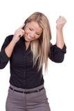 Frau, die im Jubel zu einem Aufruf reagiert Lizenzfreie Stockfotos