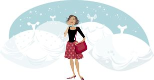 Frau, die im Schnee steht Stockfoto