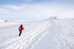 Frau, die im Schnee wandert lizenzfreies stockbild