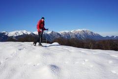 Frau, die im Winter wandert stockfotografie