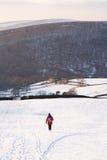 Frau, die im Winter wandert lizenzfreies stockfoto