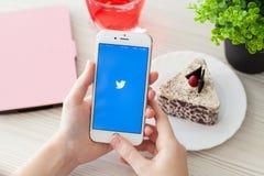 Frau, die iPhone6S Rose Gold mit Sozialeinrichtung Twitter hält Stockfotos
