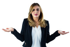 Frau, die keine Idee mit Gesten sagt Lizenzfreie Stockfotos