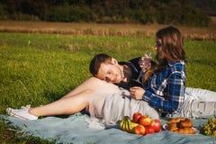 Frau, die Kerl umarmt sie trinkendes Weinpicknick auf dem Gebiet Lizenzfreie Stockfotos