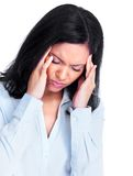 Frau, die Kopfschmerzen hat. Stockfotos
