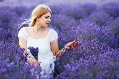Frau, die am Lavendelfeld betrachtet Blumen sitzt Stockfotografie