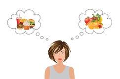 Frau, die an Lebensmittelwahl denkt vektor abbildung