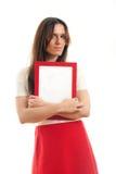 Frau, die leeres Zeichen hält Stockbilder