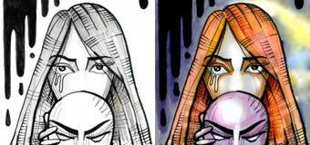 Frau, die Maske von ihrem Gesicht entfernt Stockbild