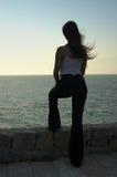 Frau, die Meer betrachtet Stockfotografie