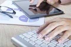 Frau, die mit dem Computer arbeitet stockbilder