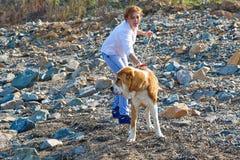 Frau, die mit dem Hund spielt Stockfoto