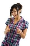 Frau, die mit den Fingern zeigt Lizenzfreie Stockbilder