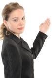 Frau, die mit der Hand unterstreicht Stockfotos