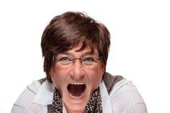 Frau, die mit einem offenen Mund schreit Stockbild
