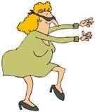 Frau, die mit einer Augenbinde sucht Lizenzfreies Stockbild