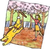 Frau, die mit ihrem Hund spielt Stock Abbildung