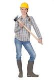 Frau, die mit Schlittenhammer aufwirft Lizenzfreie Stockfotografie