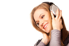 Frau, die Musik genießt Stockfotografie