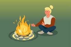 Frau, die nahe Feuervektorillustration sitzt vektor abbildung