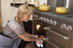 Frau, die Nahrung aus dem Ofen heraus nimmt Lizenzfreies Stockfoto