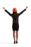 Frau, die oben ihre Hände anhebt Stockfotos