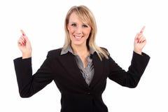Frau, die oben zeigt Lizenzfreies Stockbild