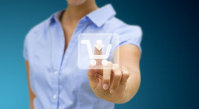 Frau, die online kauft Lizenzfreie Stockbilder