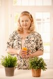 Frau, die Orangensaft anhält Lizenzfreies Stockbild