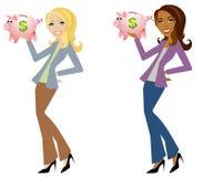 Frau, die Piggy Querneigungen anhält Lizenzfreie Stockfotos