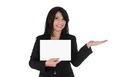 Frau, die Produkt bekanntmacht stockbilder