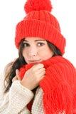 Frau, die roten Schal und Schutzkappe trägt Stockfotografie