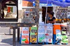 Frau, die Saft auf der Straße in Puebla verkauft Lizenzfreie Stockfotografie