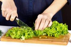 Frau, die Salat in der Küche bildet Lizenzfreie Stockfotografie