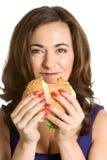 Frau, die Sandwich isst lizenzfreies stockfoto