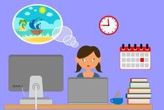 Frau, die an seinem Schreibtisch träumt über Entwurfs-Karikaturart der Ferien zeit- flache sitzt lizenzfreie abbildung