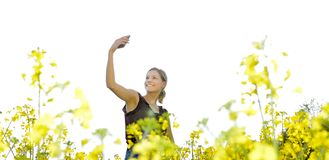 Frau, die selfie nimmt Stockbilder