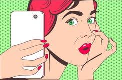 Frau, die selfie tut stock abbildung