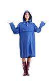 Frau, die sie zum Regen wartet. Lizenzfreies Stockbild