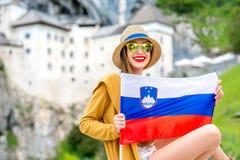 Frau, die in Slowenien reist Stockfotografie