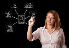 Frau, die Sozialnetzikonen auf whiteboard zeichnet Lizenzfreie Stockbilder