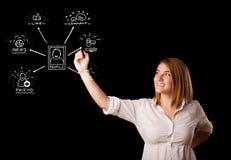 Frau, die Sozialnetzikonen auf whiteboard zeichnet Stockfotografie